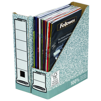 Revistero de cartón forrado A4 80mm gris Fellowes 0186004