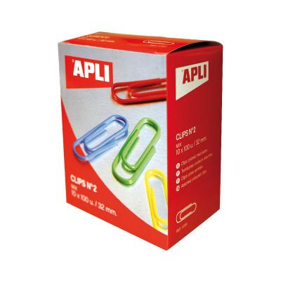Clips plastificados de colores Apli 11723