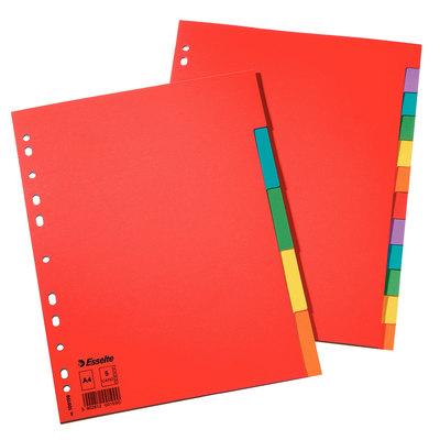 Separadores de cartulina A4 colores Esselte 10 pestañas