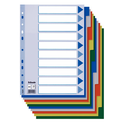 Separadores de PP colores con índice en color Esselte folio 10 pestañas