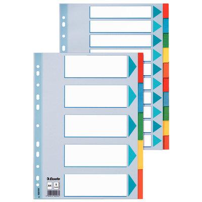 Separadores de cartón A4 colores Esselte 5 pestañas/ 5 colores