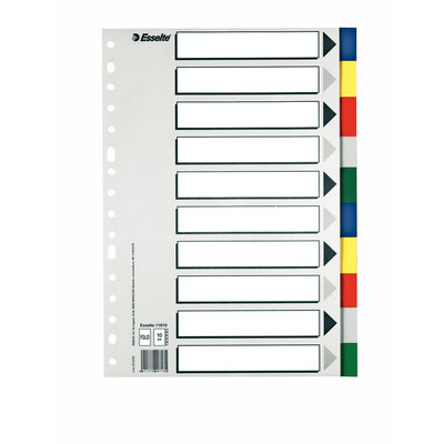 Separadores de PP colores con índice blanco y negro Esselte Folio 10 pestañas