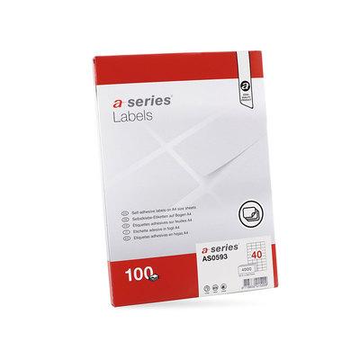 Etiquetas adhesivas A4 cantos rectos 100 hojas A-Series AS0602