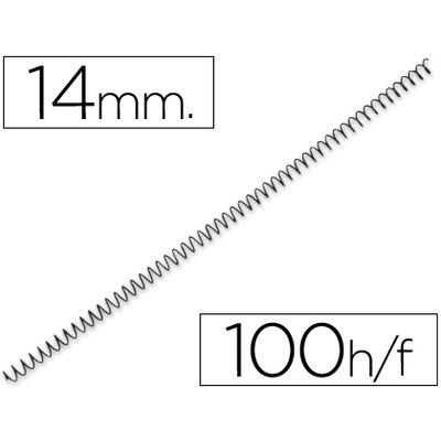 Espiral metalico q-connect 64 5:1 14 mm 1mm caja de 100 unidades. KF04431