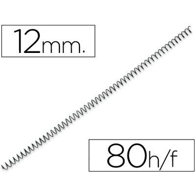 Espiral metalico q-connect 64 5:1 12 mm 1mm caja de 200 unidades. KF04430