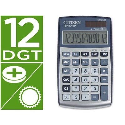 Calculadora citizen bolsillo cpc-112 12 digitos plata 120x72x9 mm CPC-112