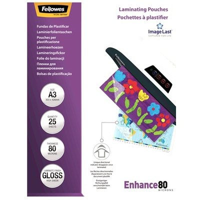 Fundas para plastificar 80 micras brillo A5 Fellowes Enhance 5306002