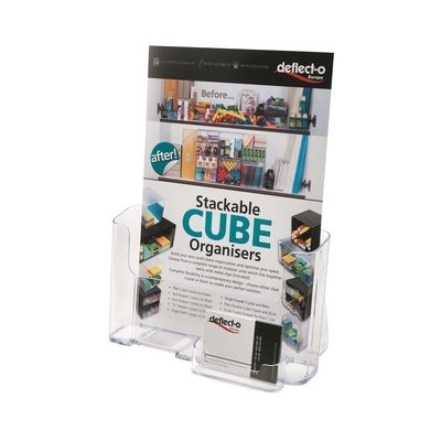 Expositor de folletos de sobremesa A4 con portatarjetas Deflecto DE680401 CS TP