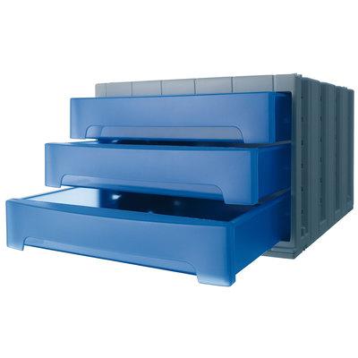 Módulo de 3 cajones Archivo 2000 Archivotec azul translúcido