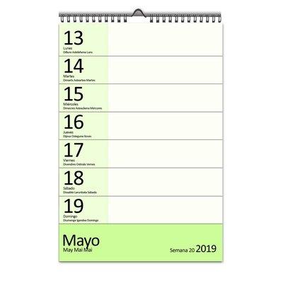 Calendario de pared semanal Myrga 17,5x25cm