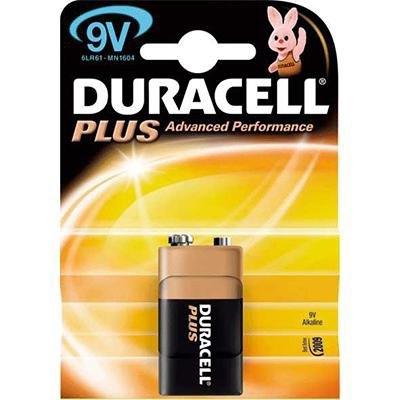Pila alcalina Duracell Plus 9 v petaca