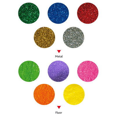 Purpurina fina en colores metalizados y fluorescentes 100g Fixo Kids 00039020