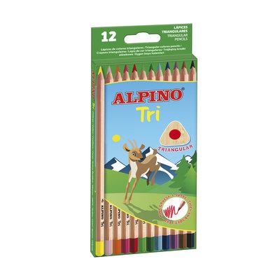 Lápices de colores triangulares Alpino Tri caja de 12