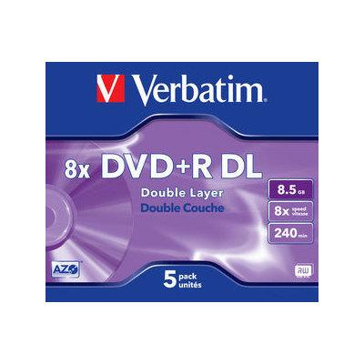 DVD + R de doble capa Matt Silver 8x Verbatim Pack de 5 uds Jewel Case