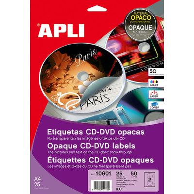 Etiquetas adhesivas para CD-DVD dorso opaco Apli Mega 11704