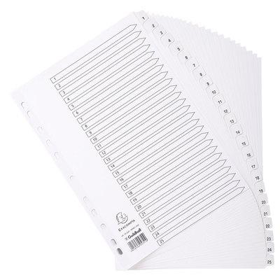 Separadores de cartulina A4 con pestañas blancas Exacompta  20 posiciones del 1 al 20