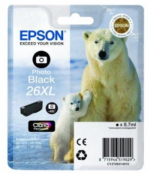 Inkjet Epson 26XL  Tamaño XL 8,7 ml Photo Negro C13T26314010