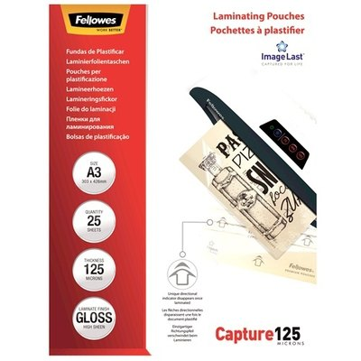 Fundas para plastificar 125 micras brillo Fellowes Capture 5306702
