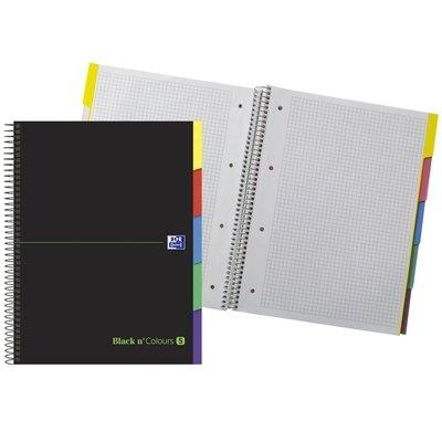 Cuaderno espiral microperforado tapa extradura con pestañas Oxford Black'n Colours cuadrícula 5x5mm verde