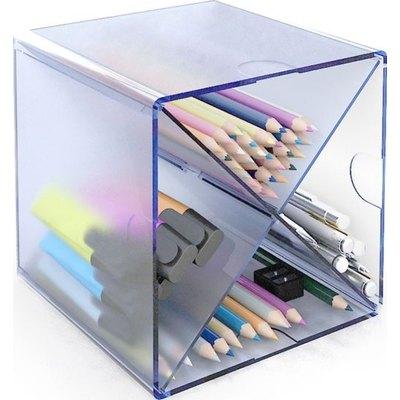 Cubo organizador en aspa Archivo 2000 azul tránslucido