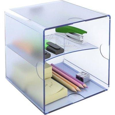 Cubo organizador con bandeja divisoria Archivo 2000 cristal