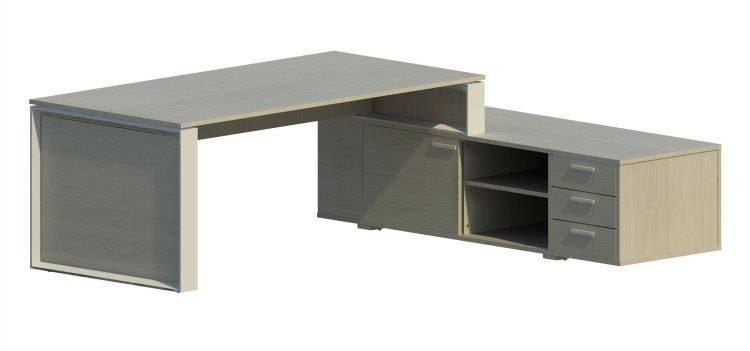 Mesa Omega con armario auxiliar derecha y marco aluminizado OM30005 NB/AL