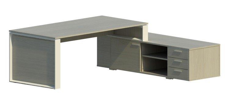Mesa Omega con armario auxiliar derecha y marco blanco OM30005 NB/BL