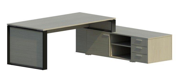 Mesa Omega con armario auxiliar derecha y marco negro OM30005 BL/NG