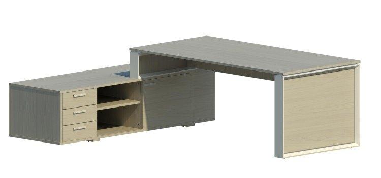 Mesa Omega con armario auxiliar izquierdo y marco blanco OM30007 OM/BL