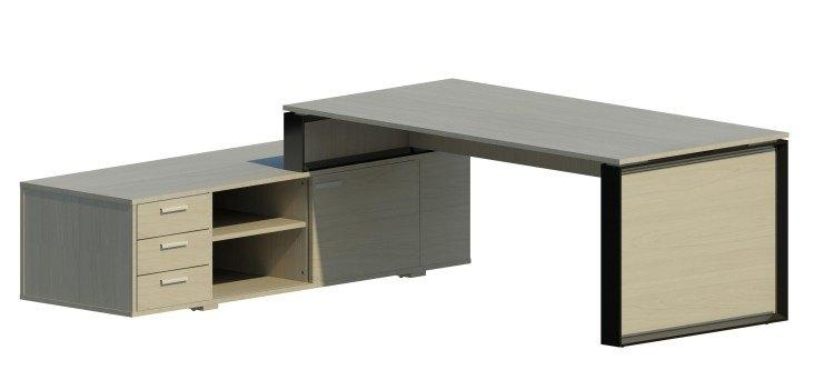 Mesa Omega con armario auxiliar izquierdo y marco negro OM30006 BL/NG