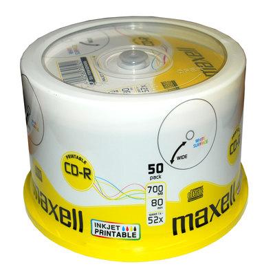 CD-R grabable imprimible 700Mb 80 minutos Maxell tarrina de 50 unidades