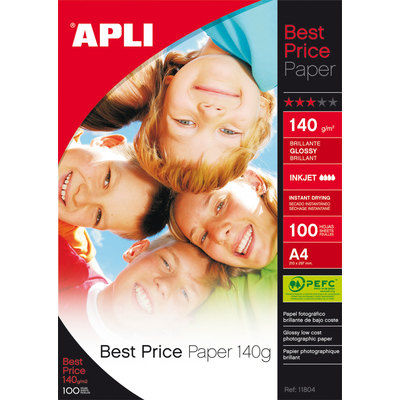 Papel fotográfico brillante A4 140g Apli Best Price