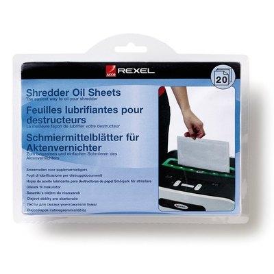 Láminas lubricantes para destructoras Rexel pack de 20 hojas