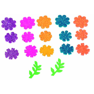 Figuras goma EVA adhesivas con purpurina flores Fixo Kids 68002100