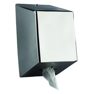 Dispensador de papel secamanos extracción central JVD Cleanline inoxidable brillo