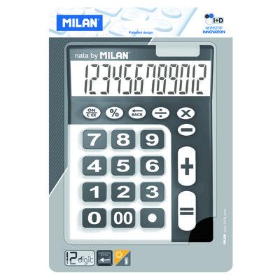 Calculadora de sobremesa extra grande negro/blanco 12 dígitos Milan 150912KBL