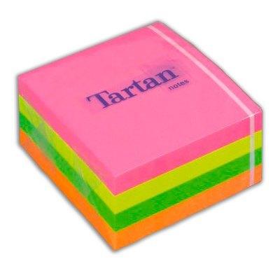 Cubo notas adhesivas Neón Tartan 7676C-N