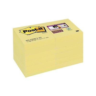 Bloc de notas adhesivas amarillo Post-it Super Sticky 76x76mm