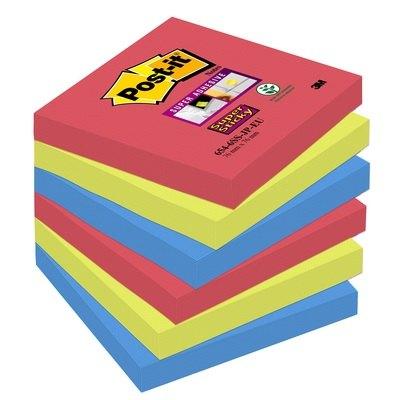 Bloc de notas adhesivas Post-it Super Sticky colores Bora Bora 654-6SS-JP