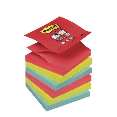 Bloc de notas adhesivas Post-it Z-Notes Super Sticky colores Bora-Bora 76x76mm R330-6SS-J
