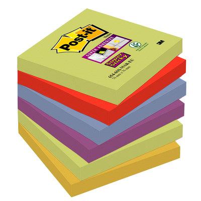 Bloc de notas adhesivas Post-it Super Sticky colores Marrakesh 76x76mm