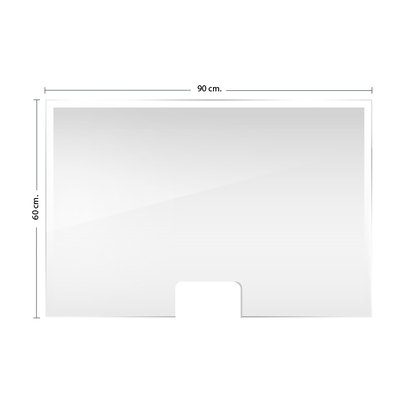 Mampara de protección horizontal metacrilato transparente 90x60x30cm F427190
