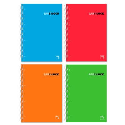 Cuaderno espiral microperforado tapa dura 160 hojas Pacsa A5 cubierta color