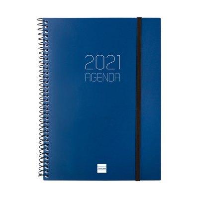 Agenda espiral Semana vista 2021 Finocam Opaque E10 15,5x21,2cm Azul 742761021