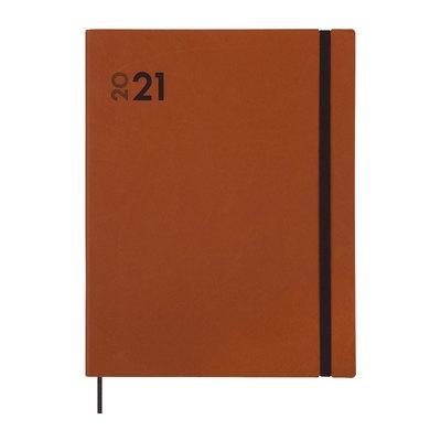 Agenda encuadernada Día página 2021 Finocam Dynamic Mara Y12 21x27cm Marrón 621184021