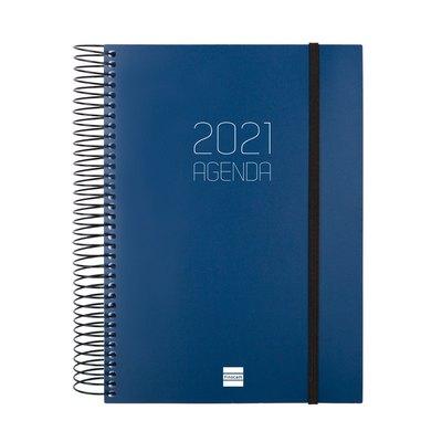 Agenda espiral Día página 2021 Finocam Opaque E10 15,5x21,2cm Azul 742911021