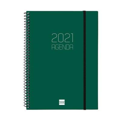 Agenda espiral Semana vista 2021 Finocam Opaque E10 15,5x21,2cm Verde 742762021