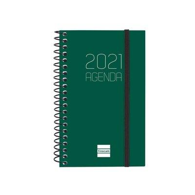 Agenda espiral Semana vista 2021 Finocam Opaque E3 7,9x12,7cm Verde 742712021