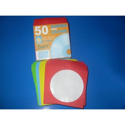 Sobres para cd,s y dvd colores surtidos Sam