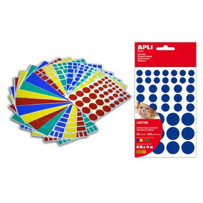 Gomets autoadhesivos permanentes colores y figuras surtidas Apli 706